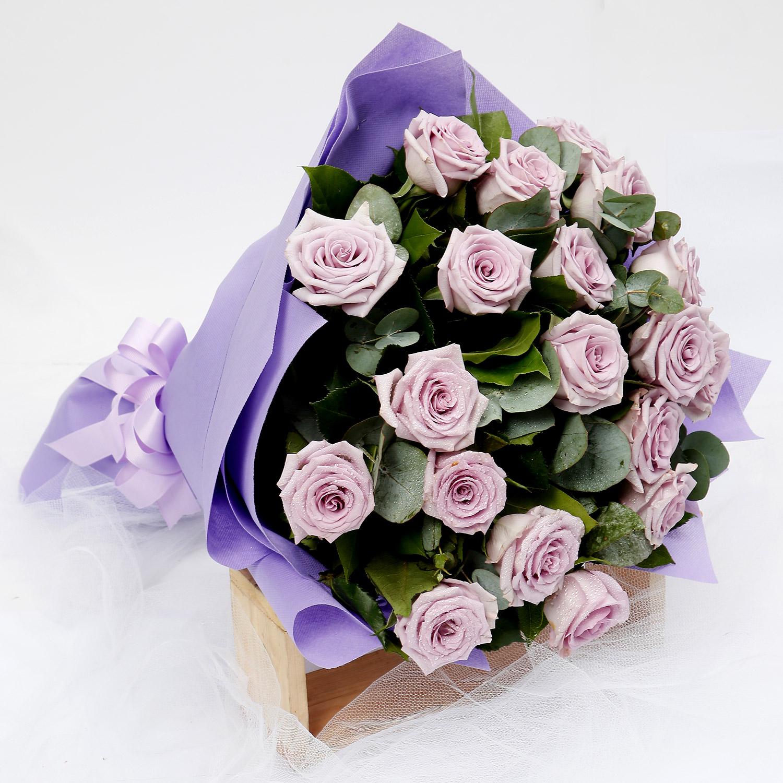 Eternal Purple 20 Roses Bouquet Flowers